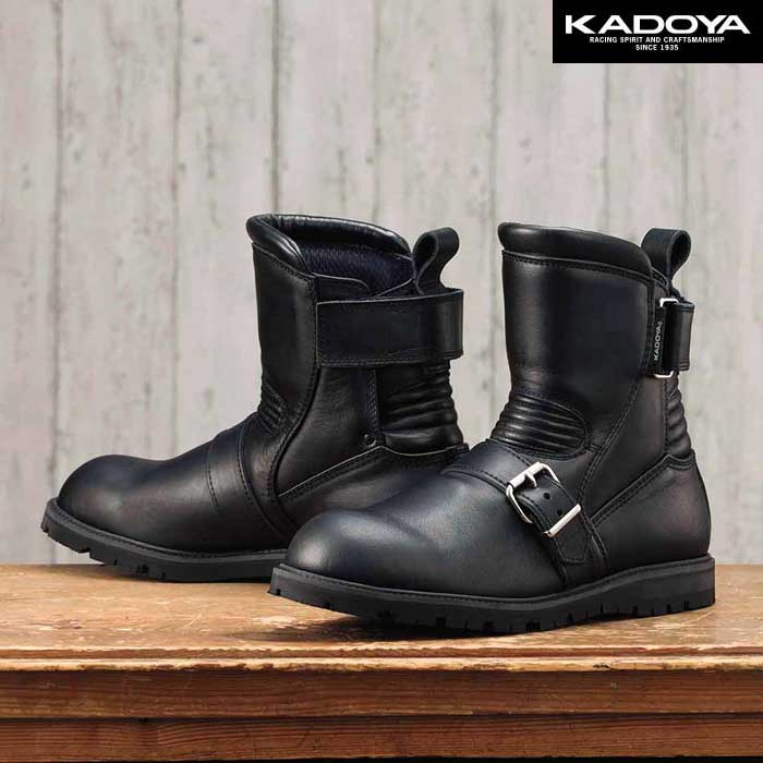 KADOYA 4313 BLACK ANKLE ショートブーツ