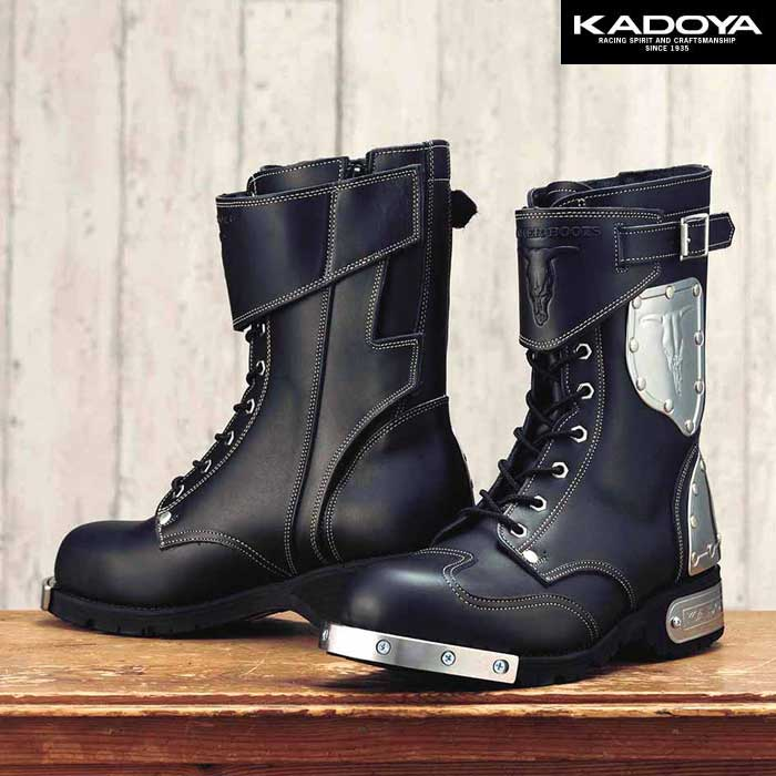 KADOYA 〔WEB価格〕HAMMER BOOTS SHORT(ハンマーブーツショート) -ブラック×シルバー