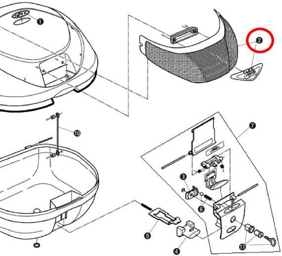 GIVI 〔WEB価格〕補修部品 Z639F E350 リフレクタ(GIVIエンブレム付き)