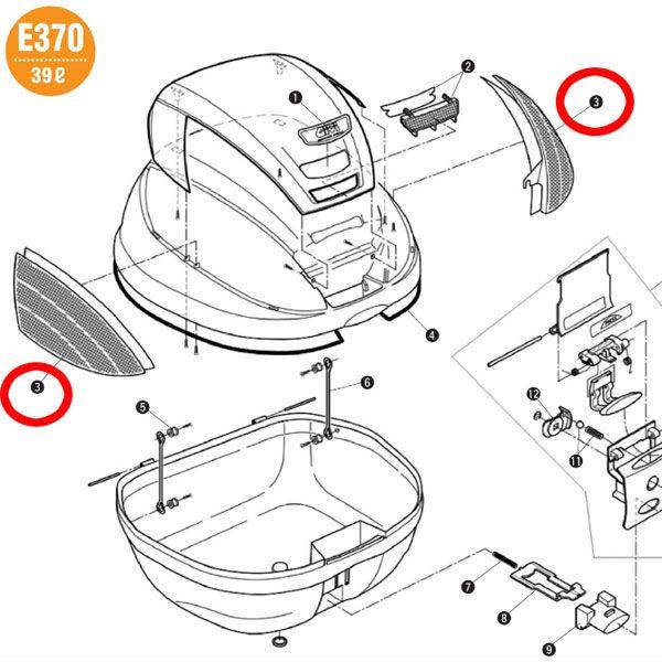 補修部品 Z1383R リフレクター(左右)裏紙付 E370