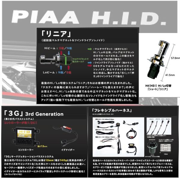 PIAA HID汎用オールワンキット 46K H4 Hi/LOリニア&フレキシブルハーネス+3G