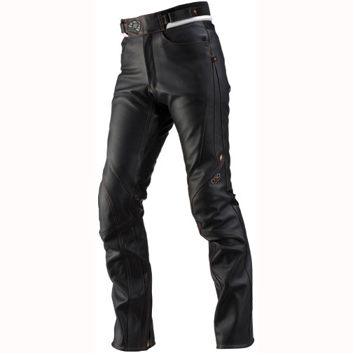ST-X D3O LEATHER PANTS(STRAIGHT) BLACK/ORANGE STITCH
