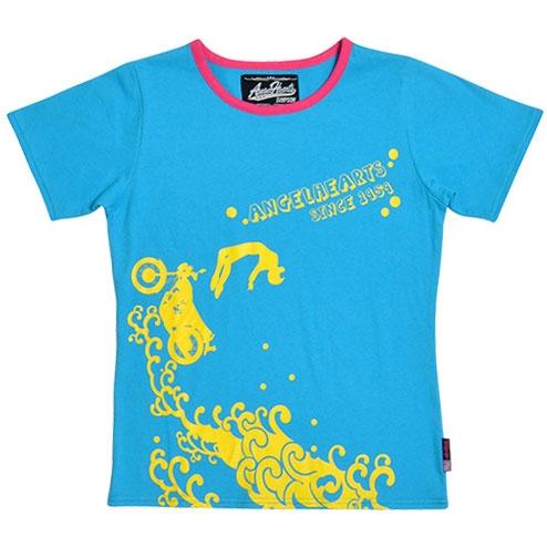 SIMPSON 【春夏ウェアアウトレット】個別配送のみ Angel Hearts レディース Tシャツ ブルー