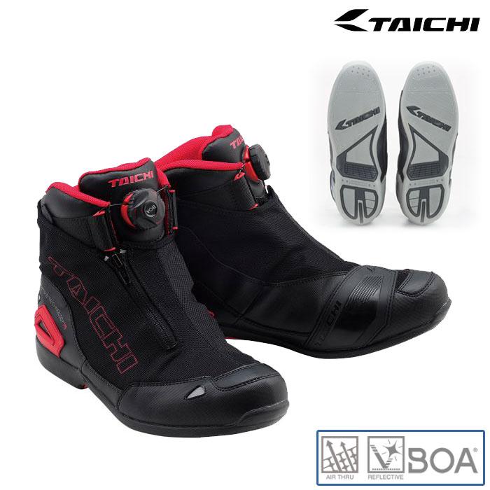 アールエスタイチ RSS008 Boaラップエアーライディングシューズ スニーカー 靴 メッシュ 春夏用 ブラック/レッド ◆全4色◆