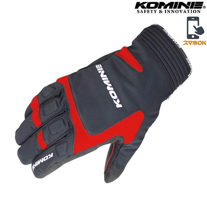 komine GK-801 ウインターグローブ 『カルタゴ』透湿防水 防風 防寒 保温 スマホ対応 ブラック/レッド