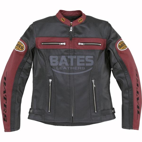 BATES BAJ-L147 レディース 2WAY パンチングレザージャケットレッド◆全2色◆