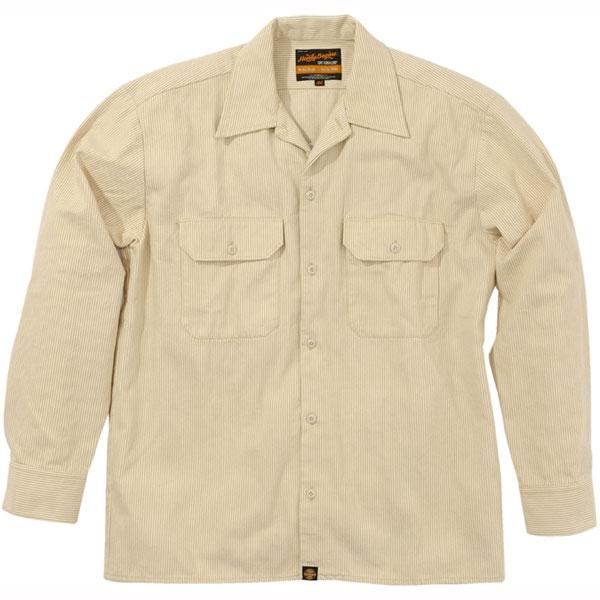 HenlyBegins NHB-1503 ワークシャツ ヒッコリーベージュ