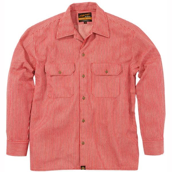 NHB-1503 ワークシャツ ヒッコリーレッド