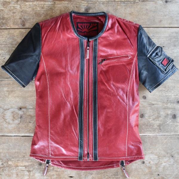 UNION JAP 【Web限定特価】大きめサイズ 『DEL SOL.3』 レザーTシャツ Crimson RED×NIGHT BLACK