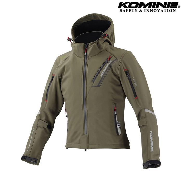 komine JK-579 プロテクトソフトシェルウィンターパーカ IFU 『イフ』 防寒 防風 着脱可能保温インナー付 ディープオリーブ ◆全11色◆