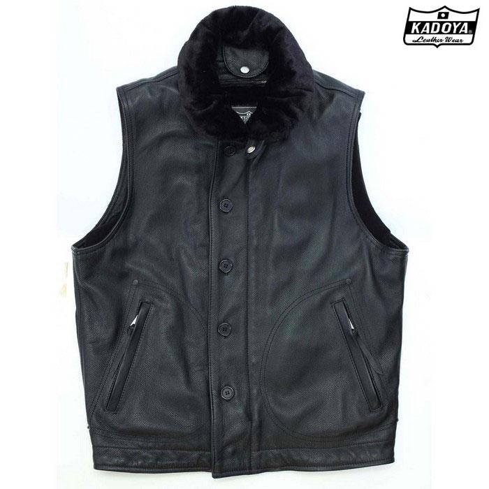 KADOYA 158  DECK CREW VEST 『ミリタリーレザーベスト』 ブラック◆全2色◆