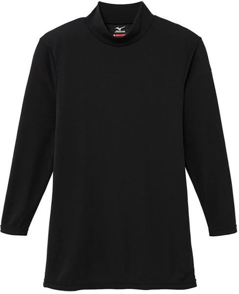 MIZUNO ブレスサーモ エブリプラス ハイネック 長袖シャツ 防寒 防風 発熱 インナー