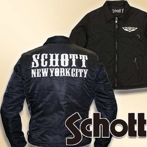 SCHOTT 【限定1点】3162019 NYLON TRUCKERジャケット ブラック Sサイズ