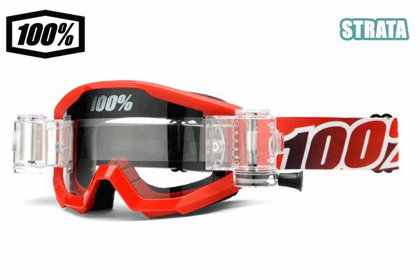 100% 17モデル ゴーグル STRATA 【ストレータ】(ロールオフ付) FIRE RED