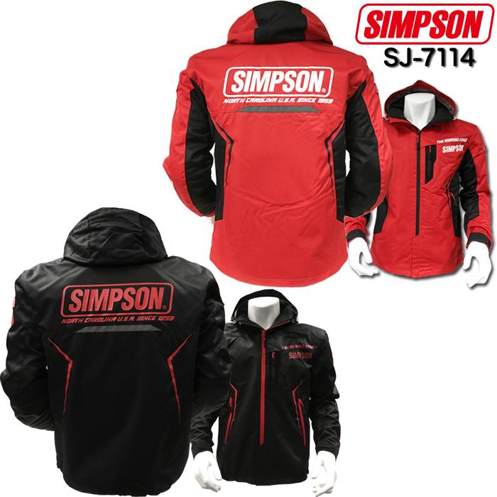 SIMPSON 【WEB限定】売り尽くし★SJ-7114 ハーフメッシュフーデッドジャケット レッド 3L