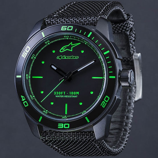 alpinestars TECH WATCH 3H BLACK/GREEN - BLACK NYLON STRAP