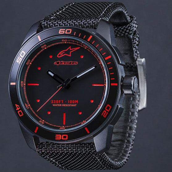 【限定1点】TECH WATCH 3H BLACK/RED - BLACK NYLON STRAP