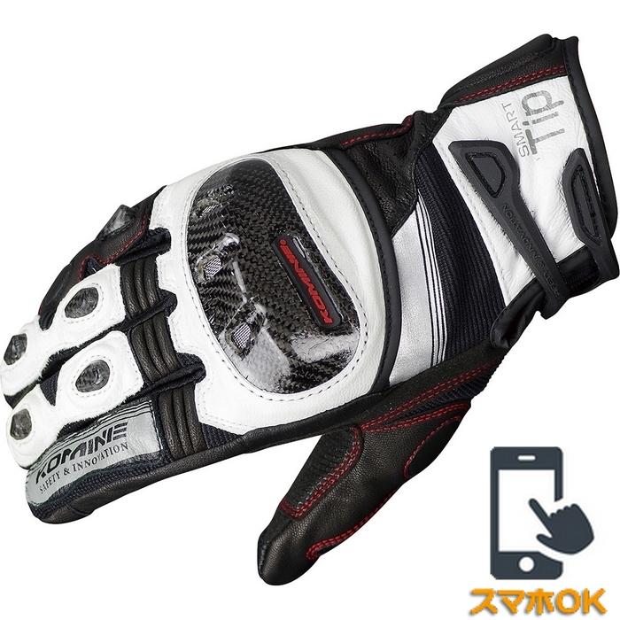 komine GK-193 プロテクトレザーメッシュグローブ グレン   ホワイト/ブラック◆全3色◆