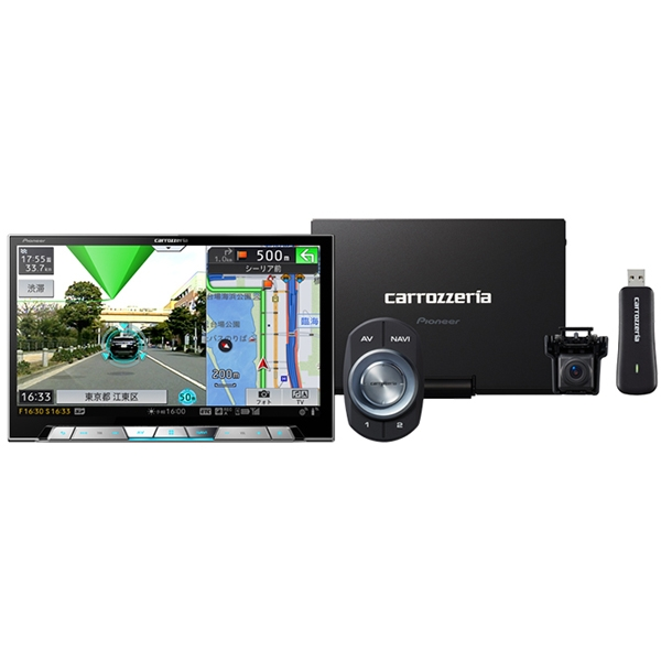 Pioneer 【CYBER NAVI】8V型ワイドXGA地上デジタルTV/DVD-V/CD/Bluetooth/USB/SD/チューナー・DSP AV一体型メモリーナビゲーション マルチドライブアシストユニットセット