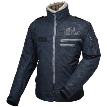 ROUGH&ROAD 〔WEB価格〕RR7683 フライトジャケット 防寒 防風 ブラックエンボスカモ ◆全4色◆