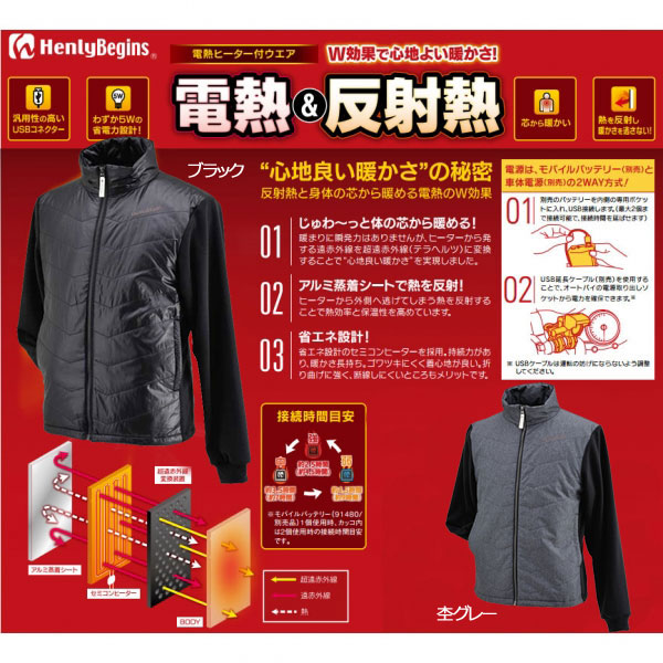 HenlyBegins HBH-005 テラヒート電熱ジャケット 防寒 冬用