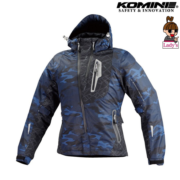 komine 【ウェアアウトレット】個別配送のみ (レディース)JK-589 プロテクトウインターパーカ ジャケット ブルーカモフラージュ