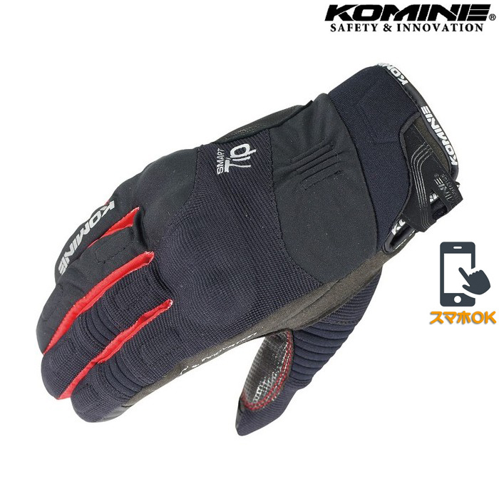 komine GK-818 プロテクトウインターグローブ 透湿防水 防風 防寒 保温 スマホ対応 ブラック/レッド ◆全7色◆
