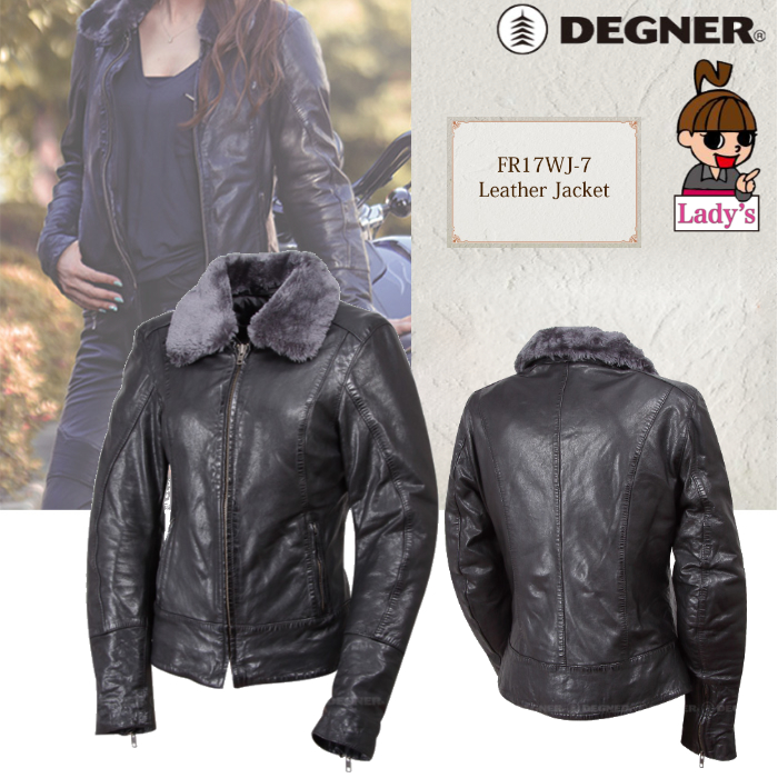 DEGNER (レディース)FR17WJ-7 レザージャケット ブラック◆全2色◆