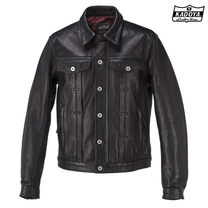 KADOYA (大きいサイズ) 1182 DT-LEATHER JAC 『DTレザージャケット』  ブラック ◆全3色◆