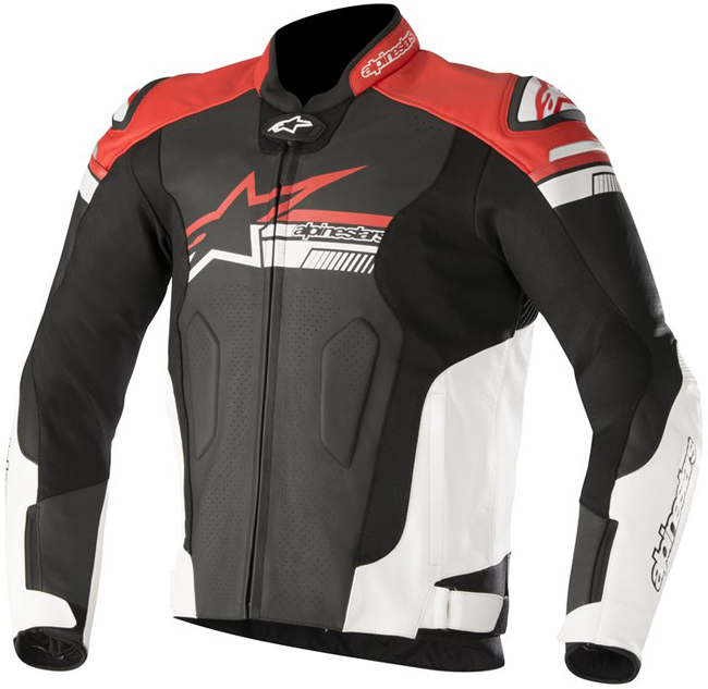 alpinestars FUJI AIRFLOW LEATHER JACKET BLACK WHITE RED