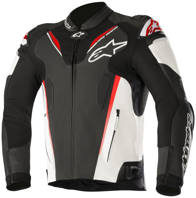 alpinestars ATEM V3 LEATHER JACKET BLACK WHITE RED FLUO