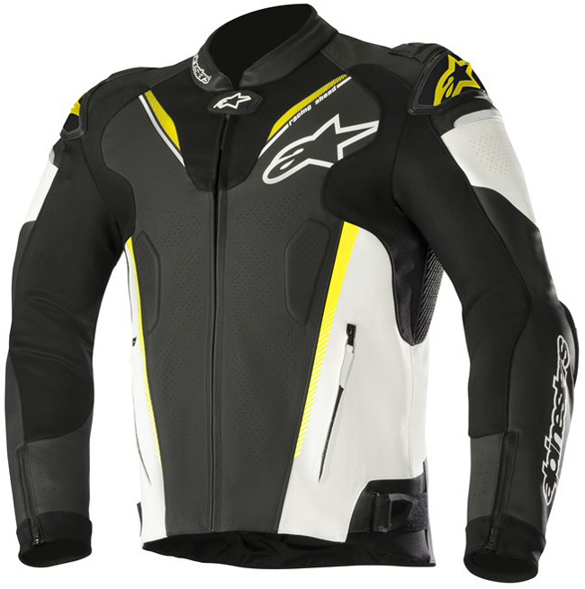 alpinestars ATEM V3 LEATHER JACKET BLACK WHITE YELLOW FLUO(125)