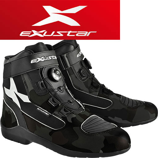 Exustar E-SBT271W ツーリングブーツ ブラック/カモ