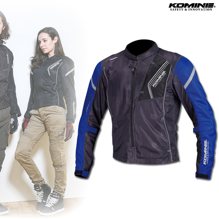 〔WEB価格〕 JK-128 プロテクトフルメッシュジャケット ブラック/ブルー ◆全10色◆