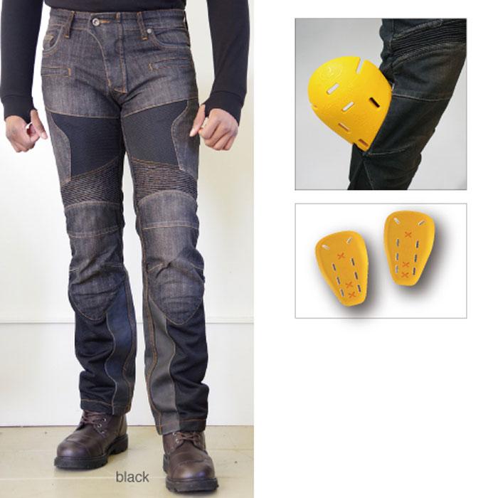 komine 大きいサイズ  WJ-741S スーパーフィットプロテクトレザーメッシュジーンズ ブラック◆全2色◆