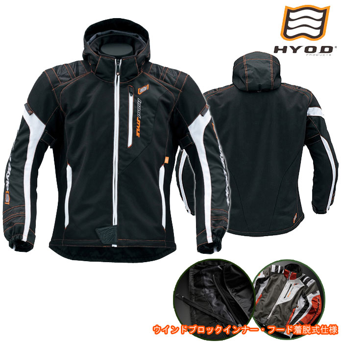 HYOD PRODUCTS STJ029D ST-S SPEED PARKA[スピードパーカー] D3O 春夏用 ブラック/オレンジステッチ◆全9色◆