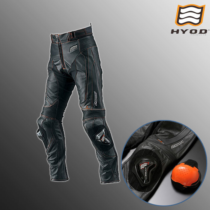 HYOD PRODUCTS HSP012DN ST-X D3O MESH LEATHER PANT  (BOOTS-OUT)メッシュ レザーパンツ ブーツアウト 春夏用  ブラック/オレンジステッチ◆全3色◆