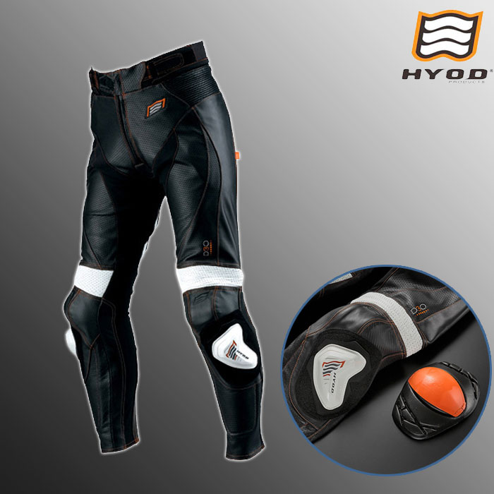 HYOD PRODUCTS HSP001D ST-X D3O MESH LEATHER PANTS(ブーツイン) 春夏用 ブラック/ホワイト オレンジステッチ◆全2色◆