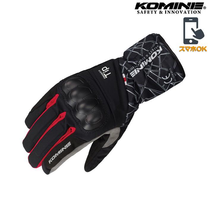 GK-827 CEプロテクトウインターグローブ 透湿防水 防風 防寒 保温 スマホ対応 クラッシュブラック/レッド ◆全3色◆