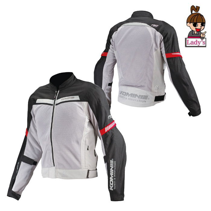 komine レディース  JK-127 プロテクトハーフメッシュジャケット ライトグレー/ブラック◆全6色◆