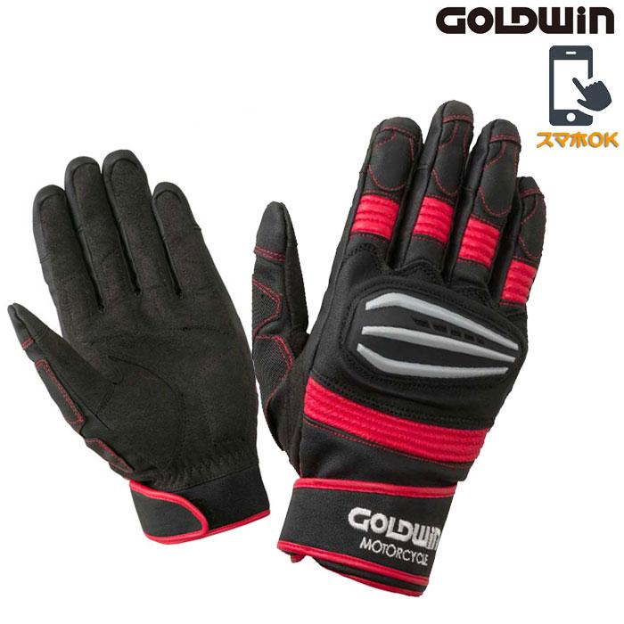 GOLDWIN 〔WEB価格〕★新作★GSM26900 リアルスピードプロテクショングローブ スマホ対応 ブラック×レッド ◆全4色◆