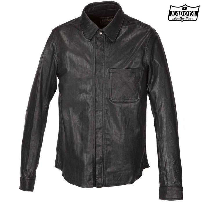 KADOYA 1199 LEATHER SHIRT STD レザーシャツ ブラック ◆全3色◆