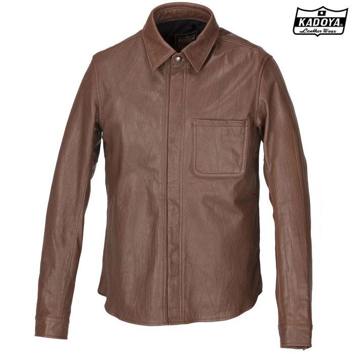 KADOYA 1199 LEATHER SHIRT STD レザーシャツ(大きいサイズ) ブラウン ◆全3色◆