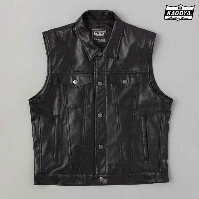 KADOYA (大きいサイズ)0520 DT LEATHER VEST レザーベスト ブラック◆全2色◆