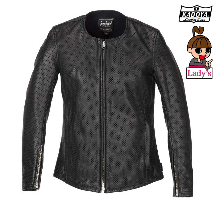 KADOYA (レディース)1197 PL-STANDARD-LSスタンダード レザージャケット 春夏用ブラック ◆全3色◆