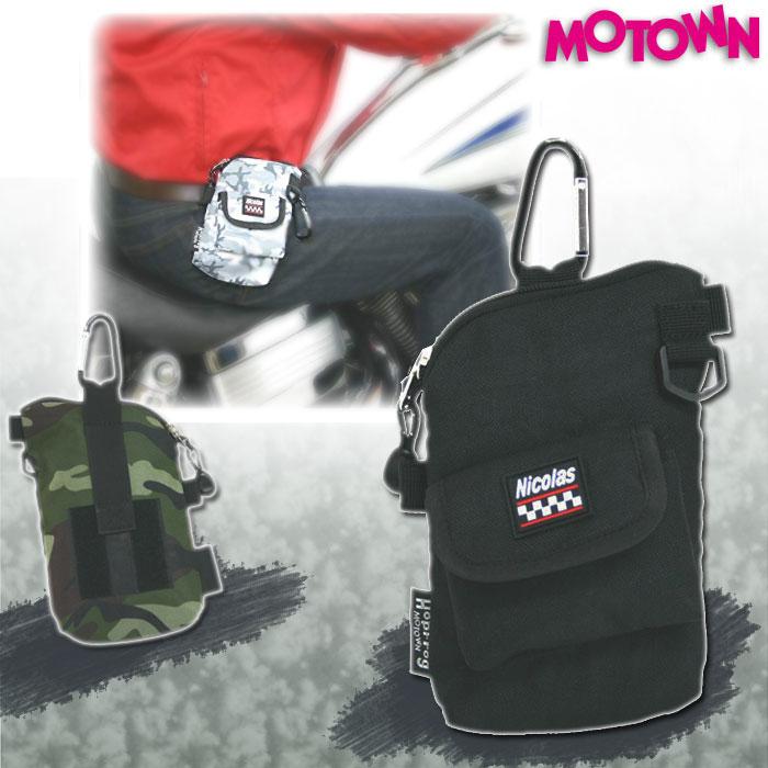 MOTOWN RCP93-BC ライダーズIQOSコンパクトポーチ ブラック/カモフラージュ 灰皿付き スマホケース 4995018014018