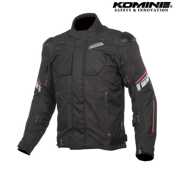 komine JK-598 Protect Full Year JKT プロテクトフルイヤージャケット ブラック カモ/レッド ◆全3色◆