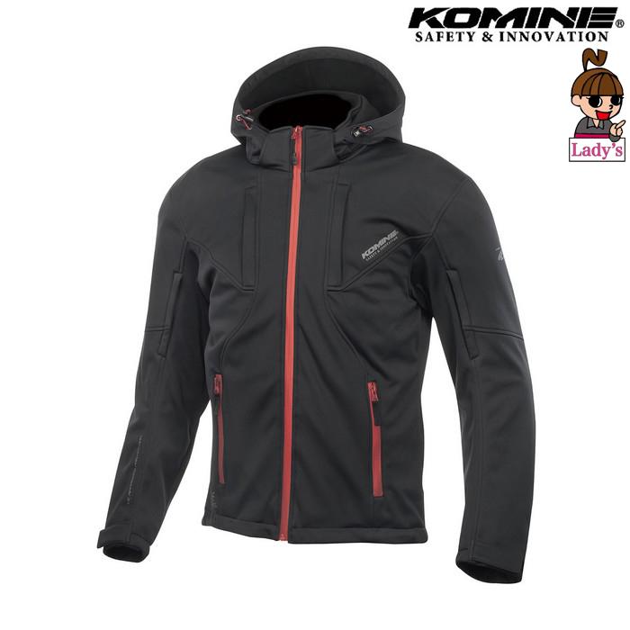 komine (レディース)JK-602 プロテクト ソフトシェルシステムパーカー ジャケット ブラック/レッド◆全4色◆