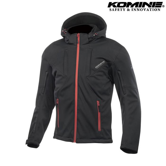 komine JK-602 プロテクト ソフトシェルシステムパーカー ジャケット ブラック/レッド ◆全4色◆