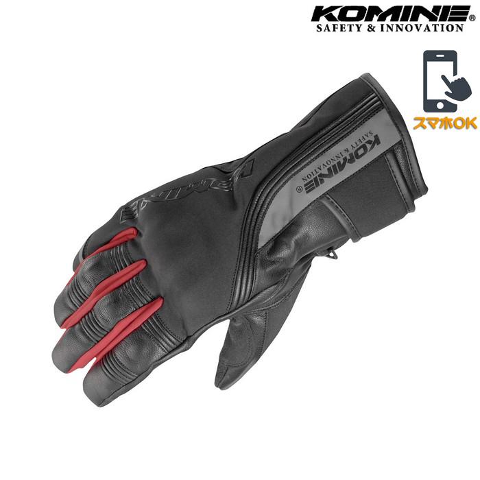 komine GK-836 プロテクトツーリングウィンターグローブ ブラック/レッド ◆全3色◆